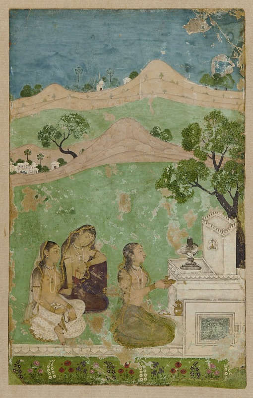 Image for Bhairavi Ragini (a musical mode): three figures before a shrine