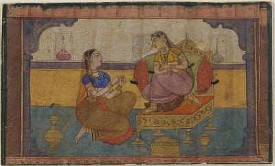 <em>The beloved (Radha) in conversation with her confidante</em> from a <em>Rasikapriya </em>