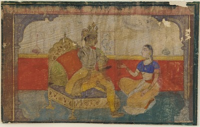 <em>The lover (Krsna) in conversation with the messenger from the beloved</em> from a <em> Rasikapriya </em>
