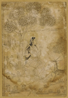 Woman holding a vina and flower under a tree, with a deer, attracted by the music, in front of her