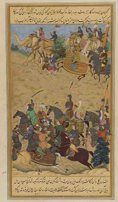 <em>Mughal Troops Chase the Armies of Da'ud </em> from an <em>Akbarnama</em>