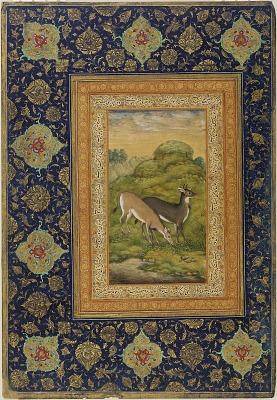 Two deer in a landscape