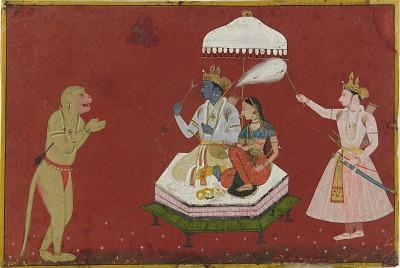 Hanuman standing before Rama and Sita