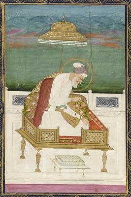 Emperor Aurangzeb; reverse: calligraphic panel