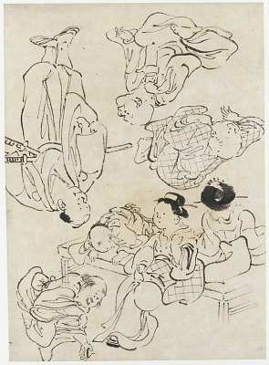 Miscellaneous figures: summer pleasures, figures seated on the verandah; and (lower) Samurai