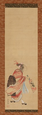 A Girl playing battledore and shuttlecock
