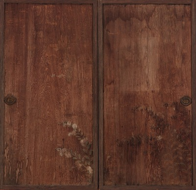 Chrysanthemums painted on a pair of wooden doors