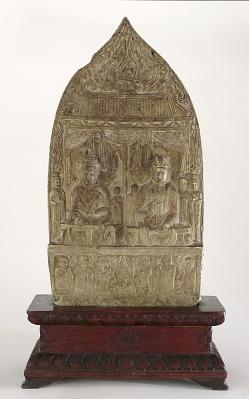 Buddhist stele depicting debate between Weimo and Wenshu