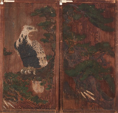 Pair of doors with eagle on a pinetree on one side; deer and cherry-blossoms on the other