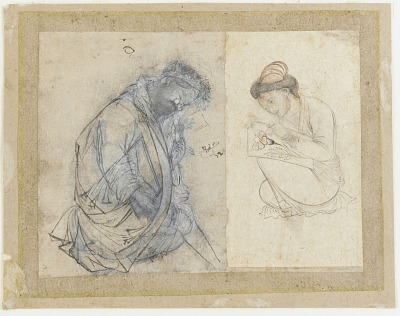 Left (a):old man with spectacles; right (b): portrait of painter Shafi' al-'Abbasi