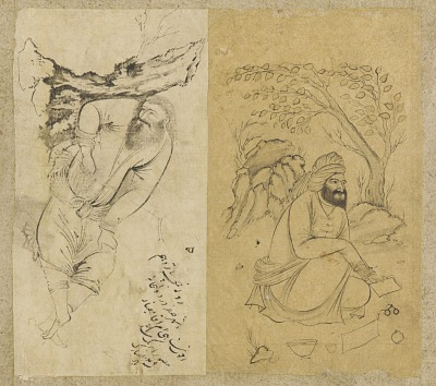 Folio from an album: Left (a): resting man; right (b): seated figure with writing utensils