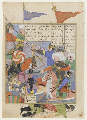 Folio from a <em>Shahnama</em> (Book of kings) by Firdawsi (d. 1020); recto: Battle between Kay Khusraw and Afrasiyab; verso: text: Letter of Kay Khusraw to Kavus and his victory