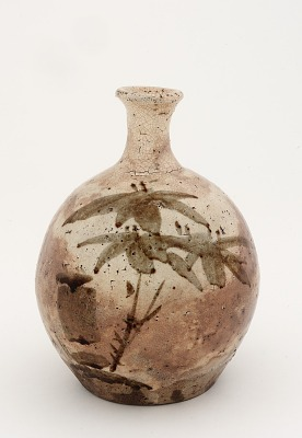 Bottle with design of bamboo, possibly Tamba ware