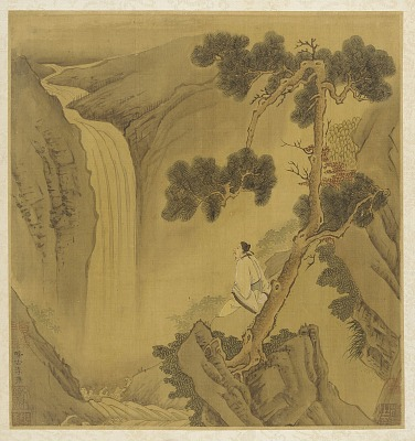Landscape: a man looking at a waterfall