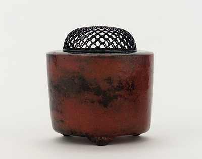 Cylindrical incense burner, unknown Raku ware workshop