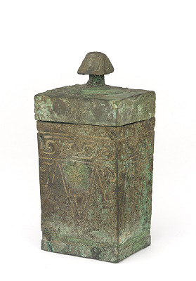 Ritual square lidded wine container (fangyi) with spirals