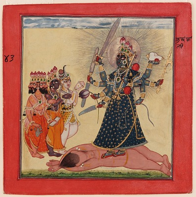 <em>Goddess Bhadrakali Worshipped by the Gods</em> from a tantric Devi series