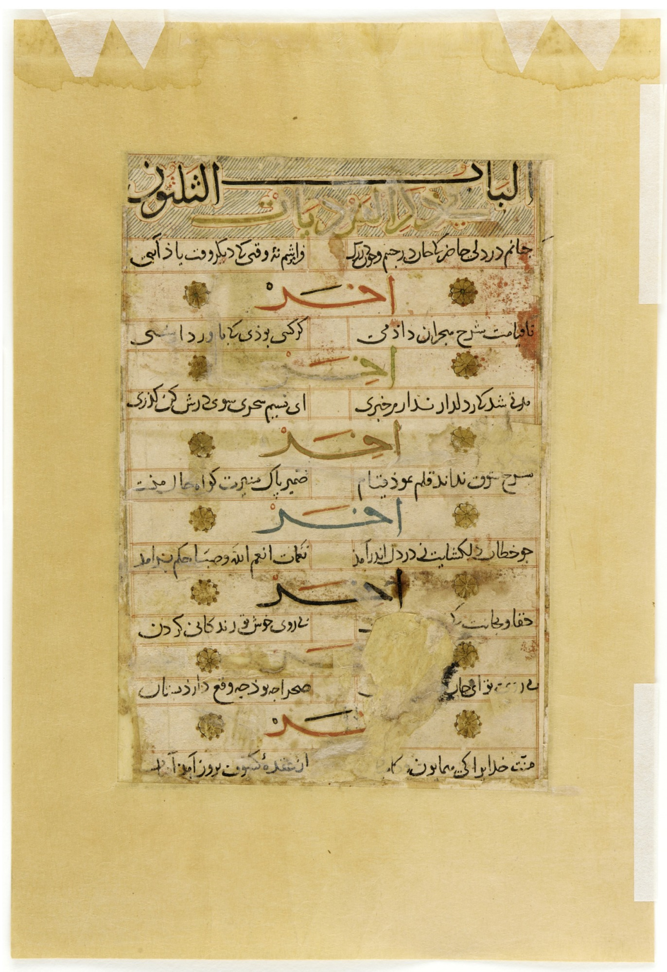 recto: Folio from a Mu'nis al-abrar fi daqa'iq al-ash'ar (Free Man's Guide to the Subtleties of Poetry) by Badr al-Din Jajarmi (d. 1287); The Zodiac constellation of Pisces, the moon, and two registers of birds; reverse: text: verses of poem