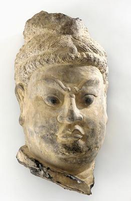 Head of a Buddhist guardian (deva-king)