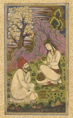 Folio from a <em>Divan</em> (collected poems) by Hafiz; recto: Bearded man and a woman in a landscape; verso: text, five couplets of poem