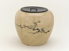 with lid: Tea-ceremony water jar (mizusashi) with design of plum branches, Karatsu ware