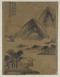 Landscape: mountains, stream, and pavilions