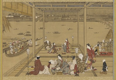 Gaiety in a riverside tea-house