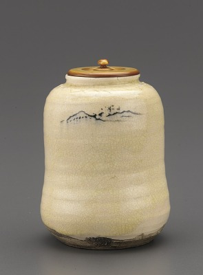 Tea caddy with landscape decoration