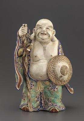 Satsuma ware figure of standing Hotei