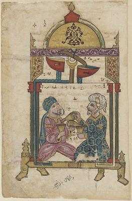 Folio from <em>Kitab fi ma`arifat al-hiyal al-handisaya</em> (The book of knowledge of ingenious mechanical devices) <em>Automata</em> by al-Jazari (d.1206); recto: Two drinking men; verso: text, A hydraulic device