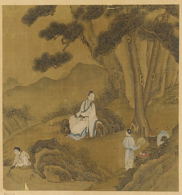 Landscape: a man resting under pines; two boys preparing tea
