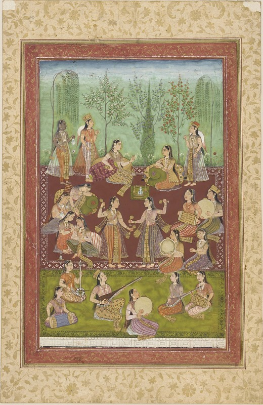 Image for A group of women in a garden, entertaining themselves with music and dancing