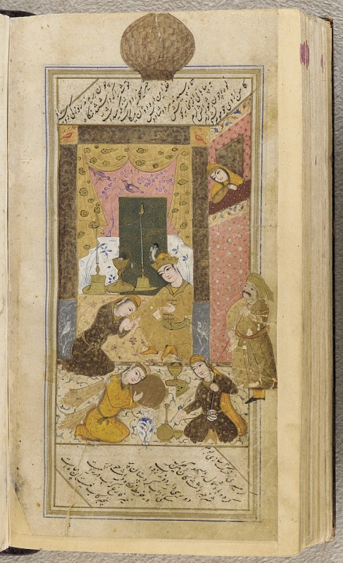 Image 1 for Khamsa (Quintet) by Nizami (d.1209); Bahram Gur and the Princess in the Sandalwood Pavilion