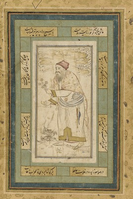 Folio from an unidentified text; verso: Man offering fruit and flower; recto: illuminated text