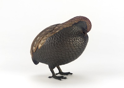 Incense box in the shape of a quail, one of a pair