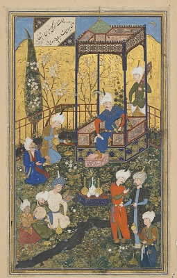 Folio from a <em>Divan</em> (collected poems) by Hafiz (d. 1390); recto: text, Poem of wisdom of love, beauty, and celebration of time; verso: illustration and text, Feast of 'id