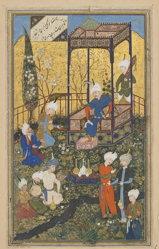 Image for Folio from a Divan (collected poems) by Hafiz (d. 1390); recto: text, Poem of wisdom of love, beauty, and celebration of time; verso: illustration and text, Feast of 'id