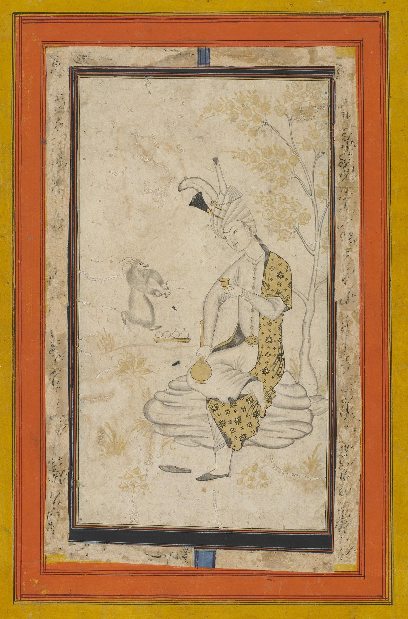 Shah Tahmasp I seated on rock
