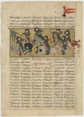 <em>Manuchihr attacks Tur and slays him</em> from a <em>Shahnama</em> (Book of kings) by Firdawsi