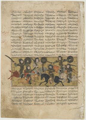 <em>Battle between the forces of Nawzar and Afrasiyab</em> from a <em>Shahnama</em> (Book of kings) by Firdawsi