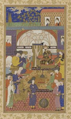 Folio from a Habib al-siyar (The beloved of virtues) by Khvandamir (d. 1534-37); recto: Nushirwan enthroned; verso: illumination