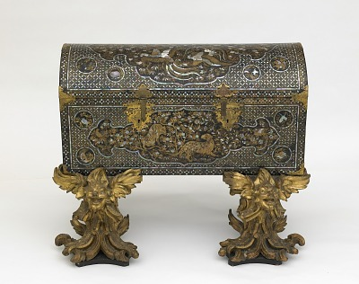Chest with later two-part gilded stand