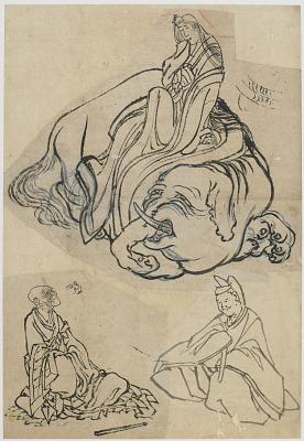 Preparatory sketch for <em>The Courtesan Eguchi as the Bodhisattva Fugen and the Monk Saigyo</em>