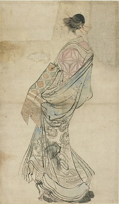 Walking figure of a courtesan