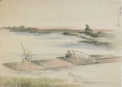 Landscape: boatman poling his raft