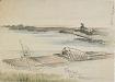 : Landscape: boatman poling his raft