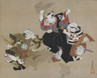 The Actors Ichikawa Danjuro II as Soga no Goro and Ogawa Zengoro as Kudo Suketsune