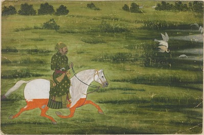 A Mounted man hunting birds with a falcon
