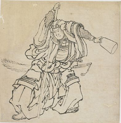 Standing warrior in full armor