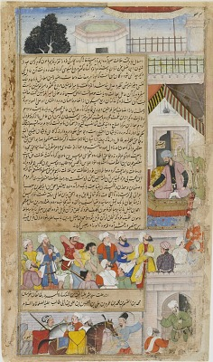 The Imam of Baghdad brought before the Caliph on a charge of heresy from the <em>Tarikh-i-Alfi</em>